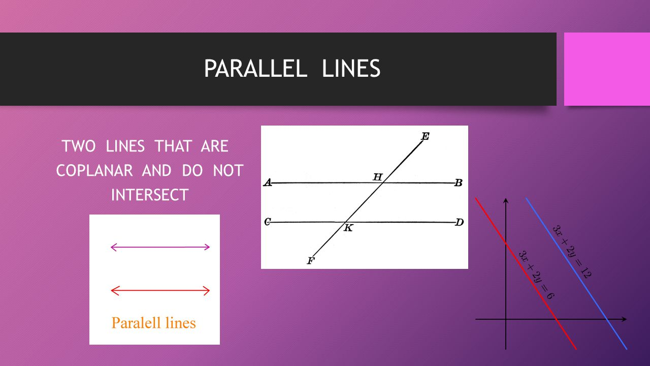 TWO LINES THAT ARE COPLANAR AND DO NOT INTERSECT