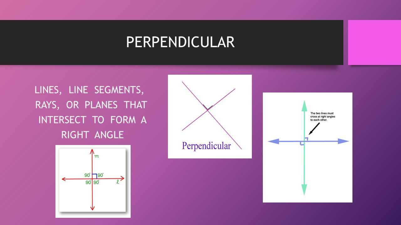 PERPENDICULAR LINES, LINE SEGMENTS, RAYS, OR PLANES THAT INTERSECT TO FORM A RIGHT ANGLE