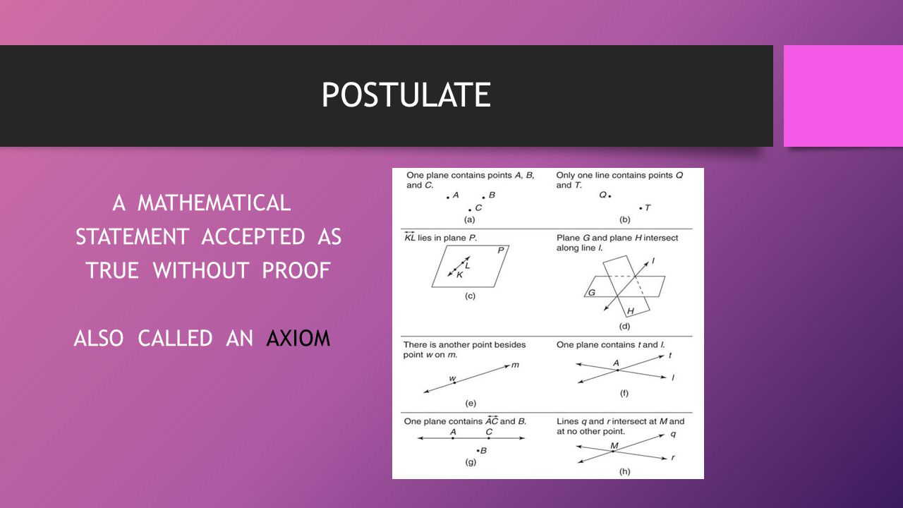 POSTULATE A MATHEMATICAL STATEMENT ACCEPTED AS TRUE WITHOUT PROOF ALSO CALLED AN AXIOM