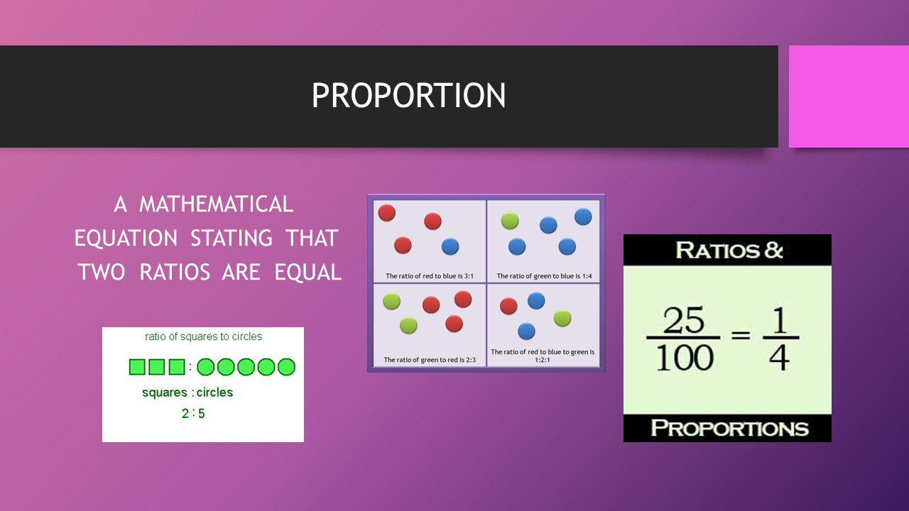 A MATHEMATICAL EQUATION STATING THAT TWO RATIOS ARE EQUAL