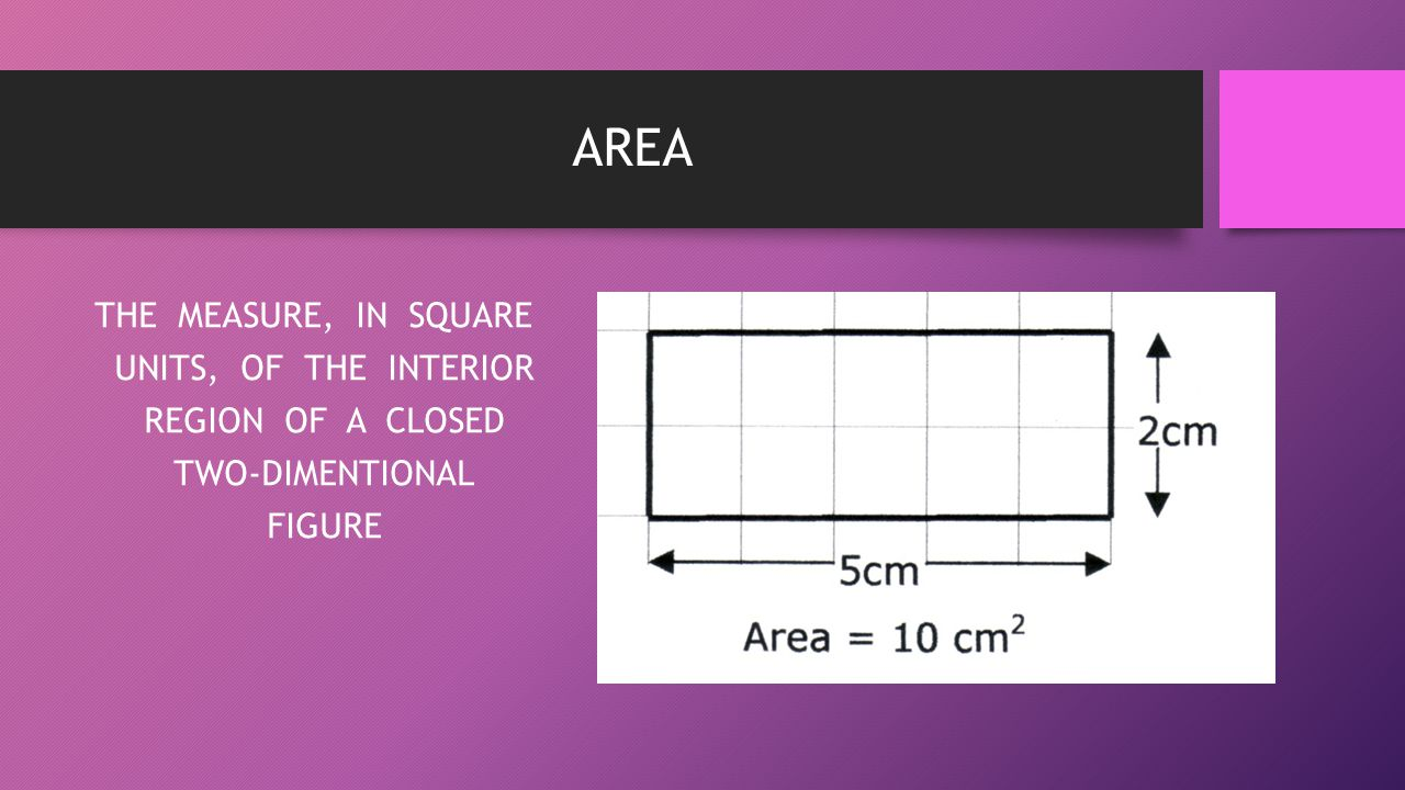 AREA THE MEASURE, IN SQUARE UNITS, OF THE INTERIOR REGION OF A CLOSED TWO-DIMENTIONAL FIGURE