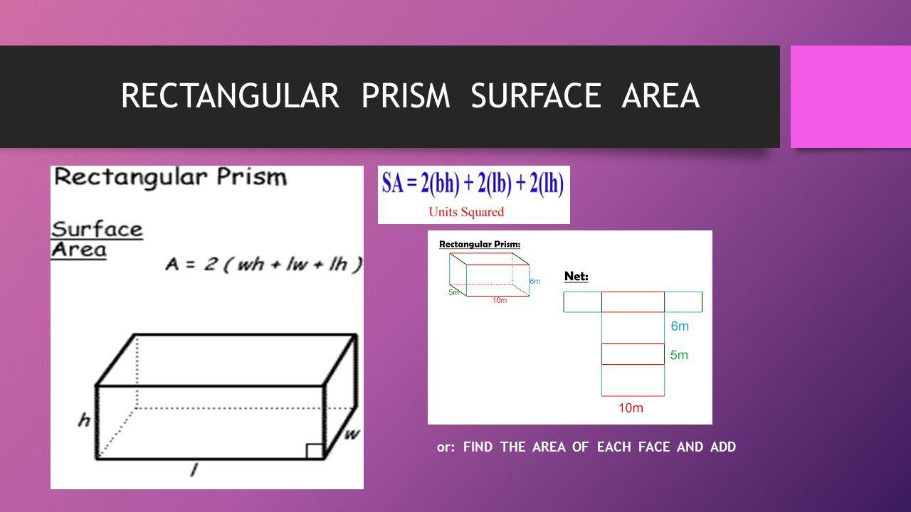 RECTANGULAR PRISM SURFACE AREA