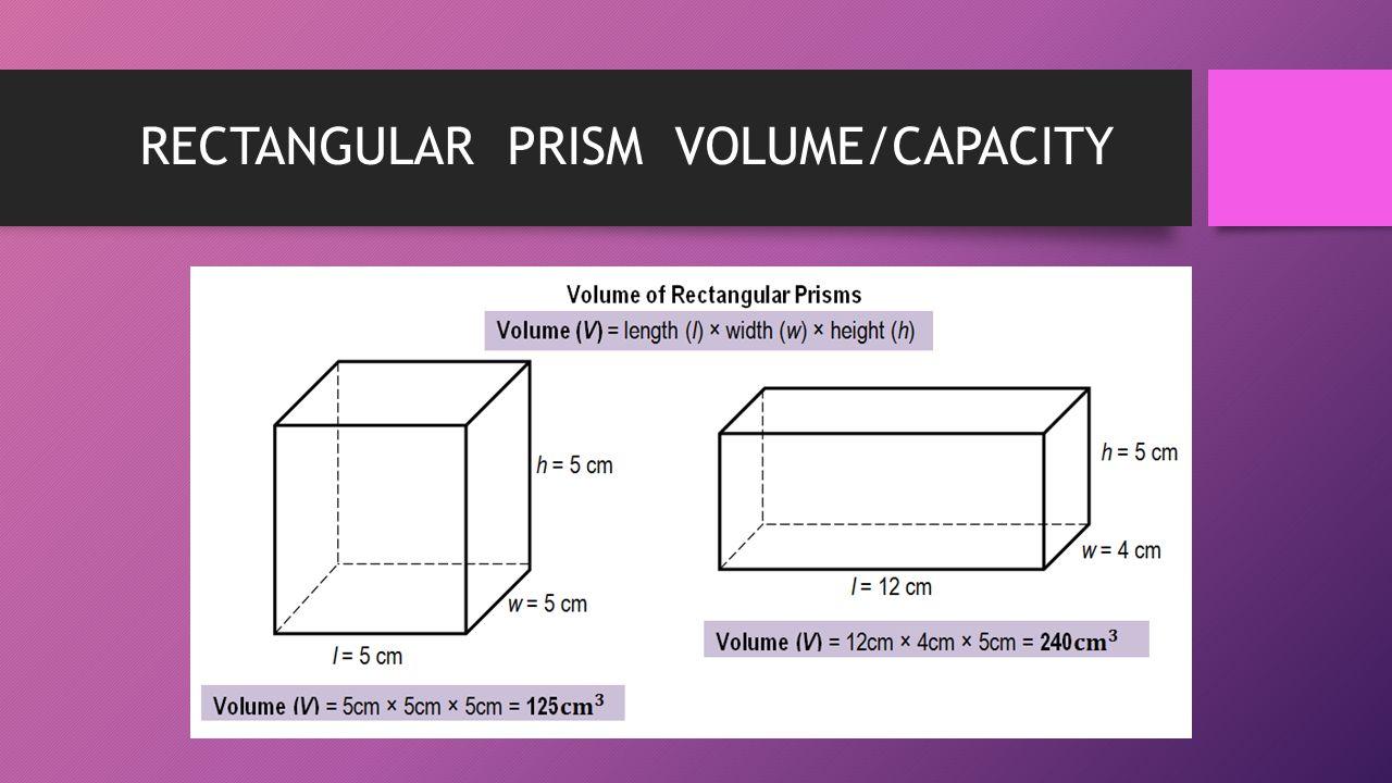 RECTANGULAR PRISM VOLUME/CAPACITY