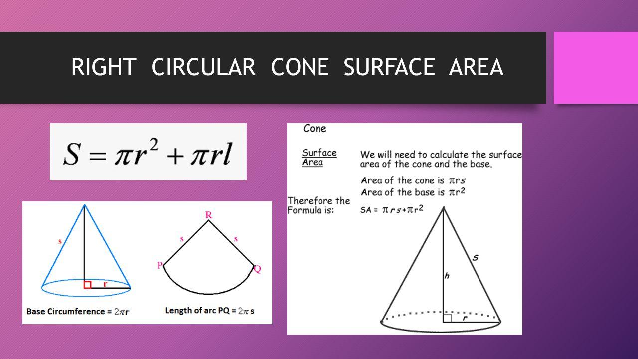 RIGHT CIRCULAR CONE SURFACE AREA
