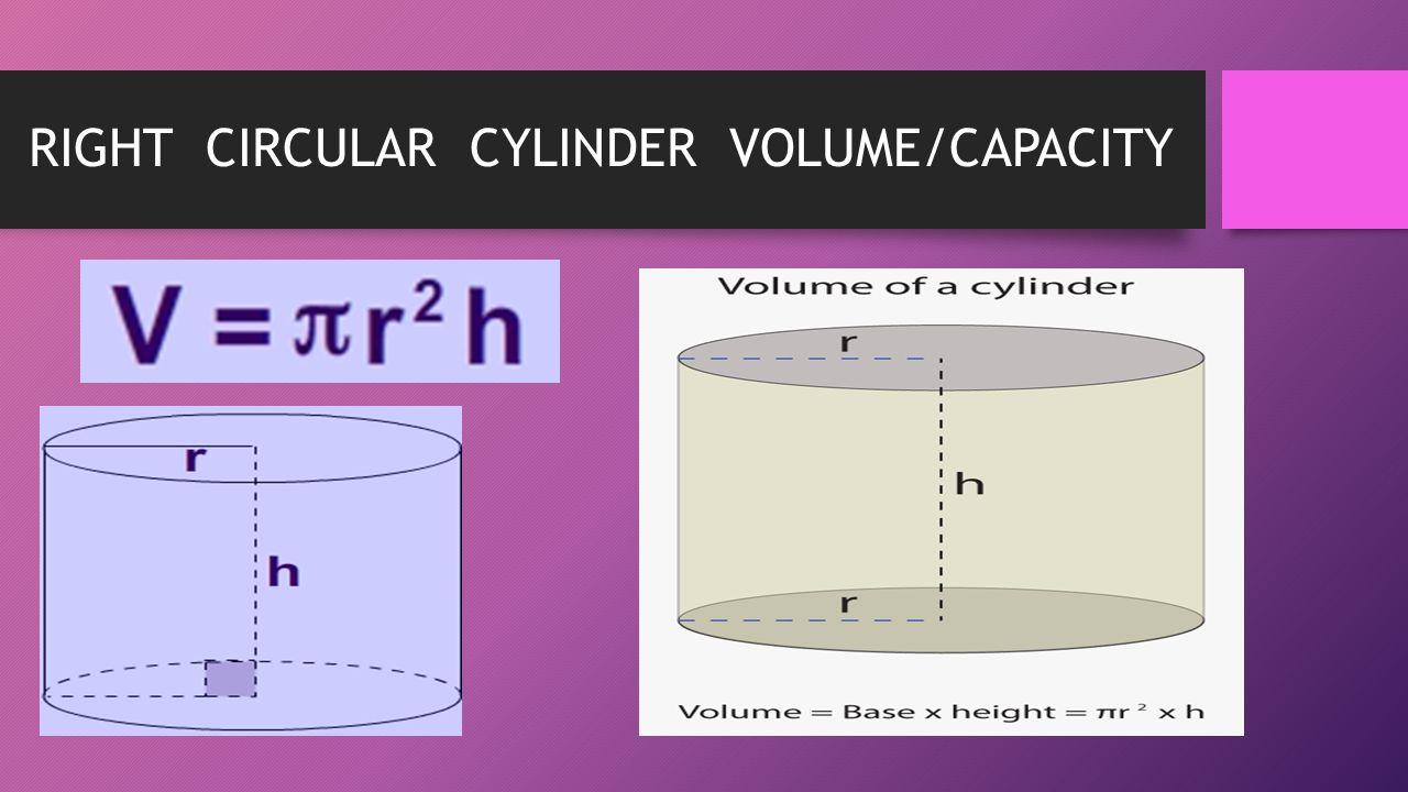 RIGHT CIRCULAR CYLINDER VOLUME/CAPACITY