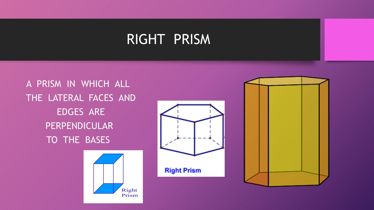 RIGHT PRISM A PRISM IN WHICH ALL THE LATERAL FACES AND EDGES ARE PERPENDICULAR TO THE BASES