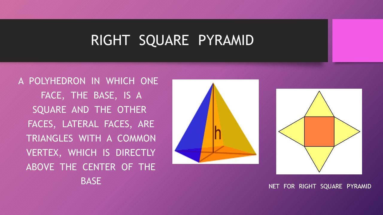 RIGHT SQUARE PYRAMID