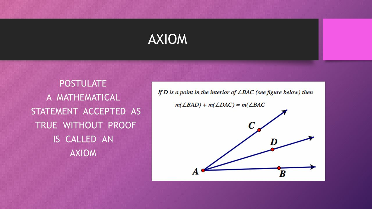 AXIOM POSTULATE A MATHEMATICAL STATEMENT ACCEPTED AS TRUE WITHOUT PROOF IS CALLED AN AXIOM