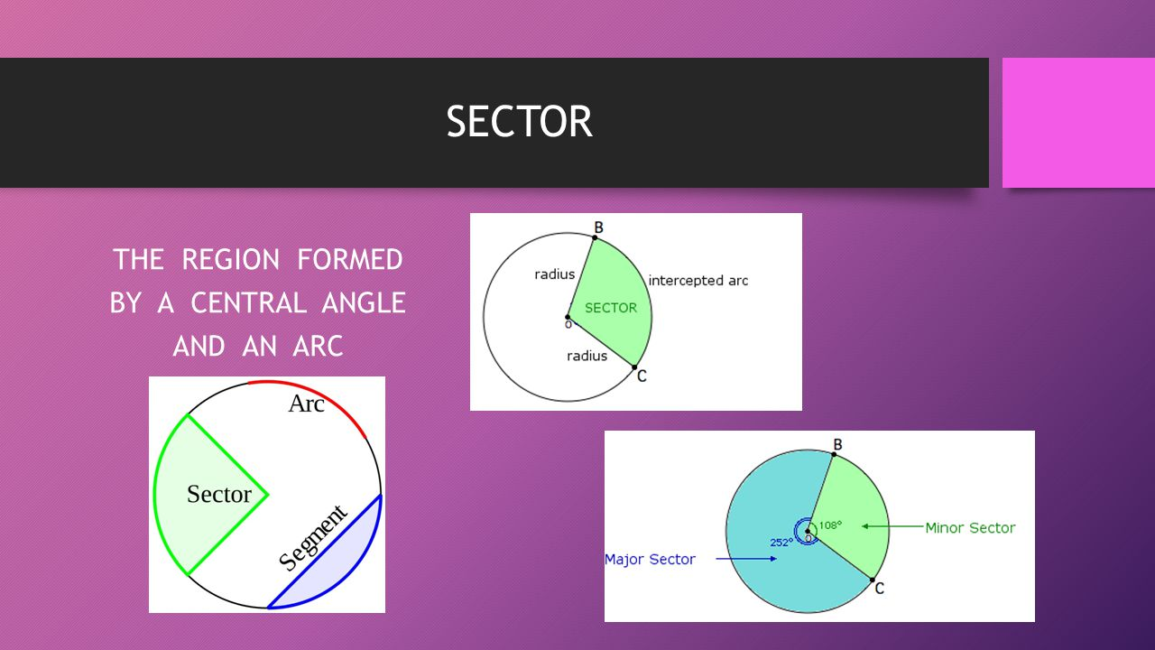 THE REGION FORMED BY A CENTRAL ANGLE AND AN ARC