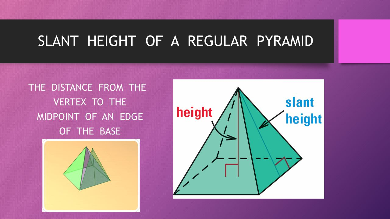 SLANT HEIGHT OF A REGULAR PYRAMID