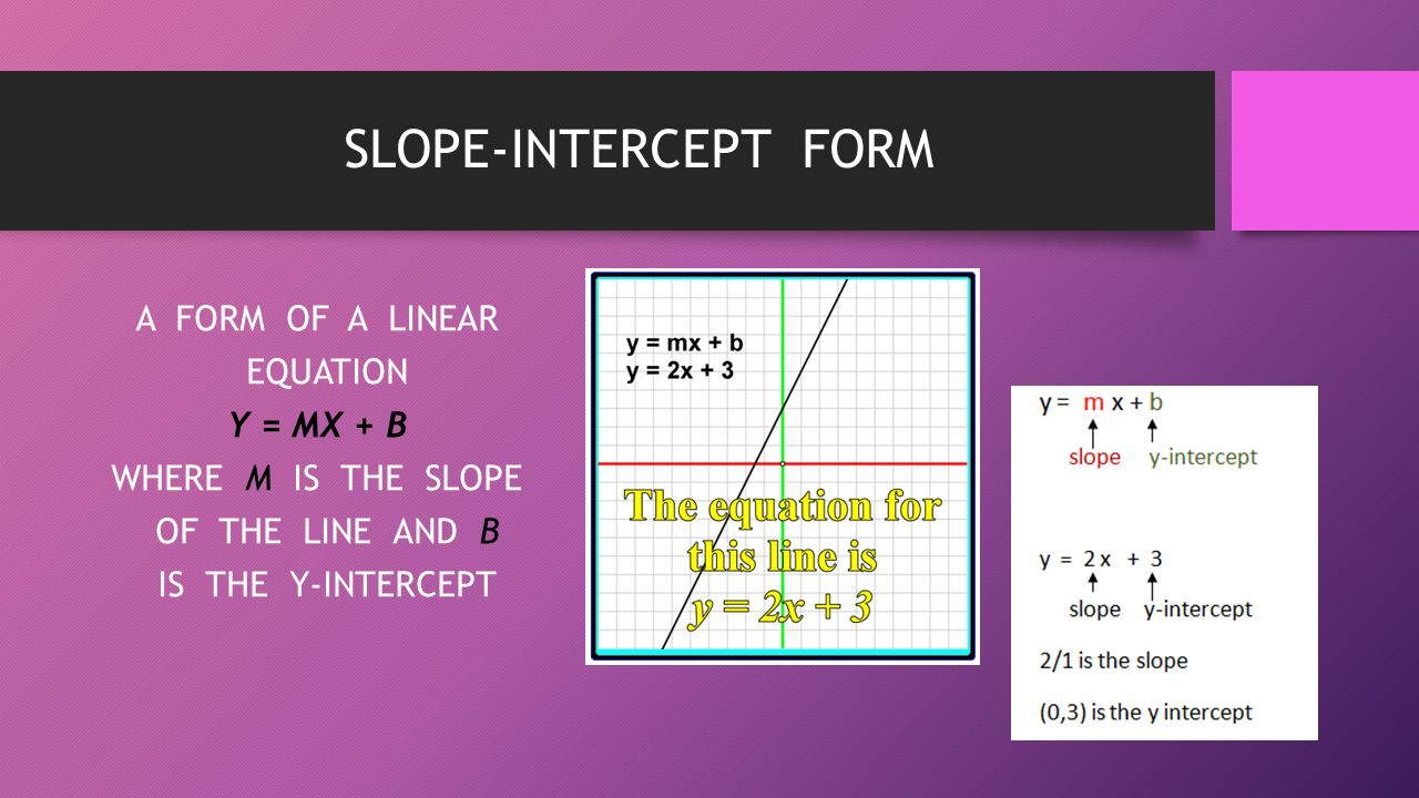 SLOPE-INTERCEPT FORM A FORM OF A LINEAR EQUATION Y = MX + B WHERE M IS THE SLOPE OF THE LINE AND B IS THE Y-INTERCEPT