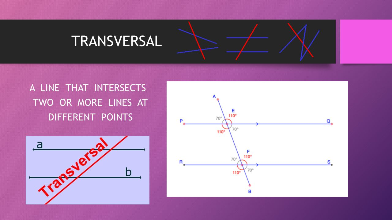 A LINE THAT INTERSECTS TWO OR MORE LINES AT DIFFERENT POINTS