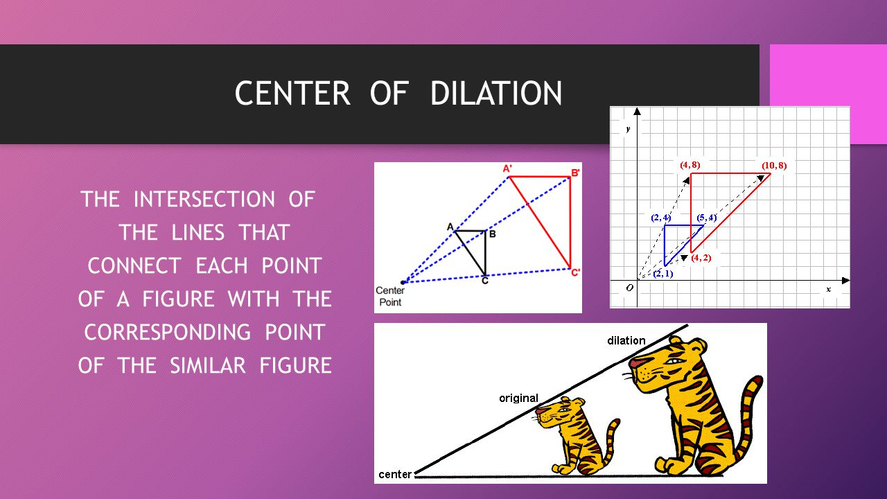 CENTER OF DILATION THE INTERSECTION OF THE LINES THAT CONNECT EACH POINT OF A FIGURE WITH THE CORRESPONDING POINT OF THE SIMILAR FIGURE