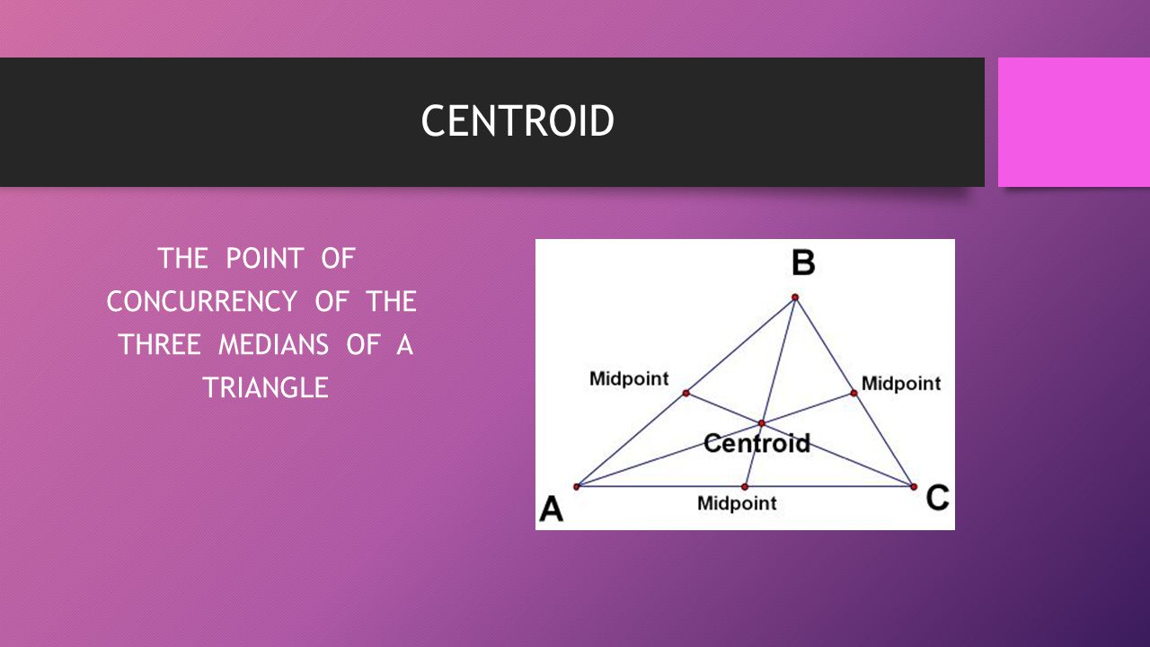 THE POINT OF CONCURRENCY OF THE THREE MEDIANS OF A TRIANGLE