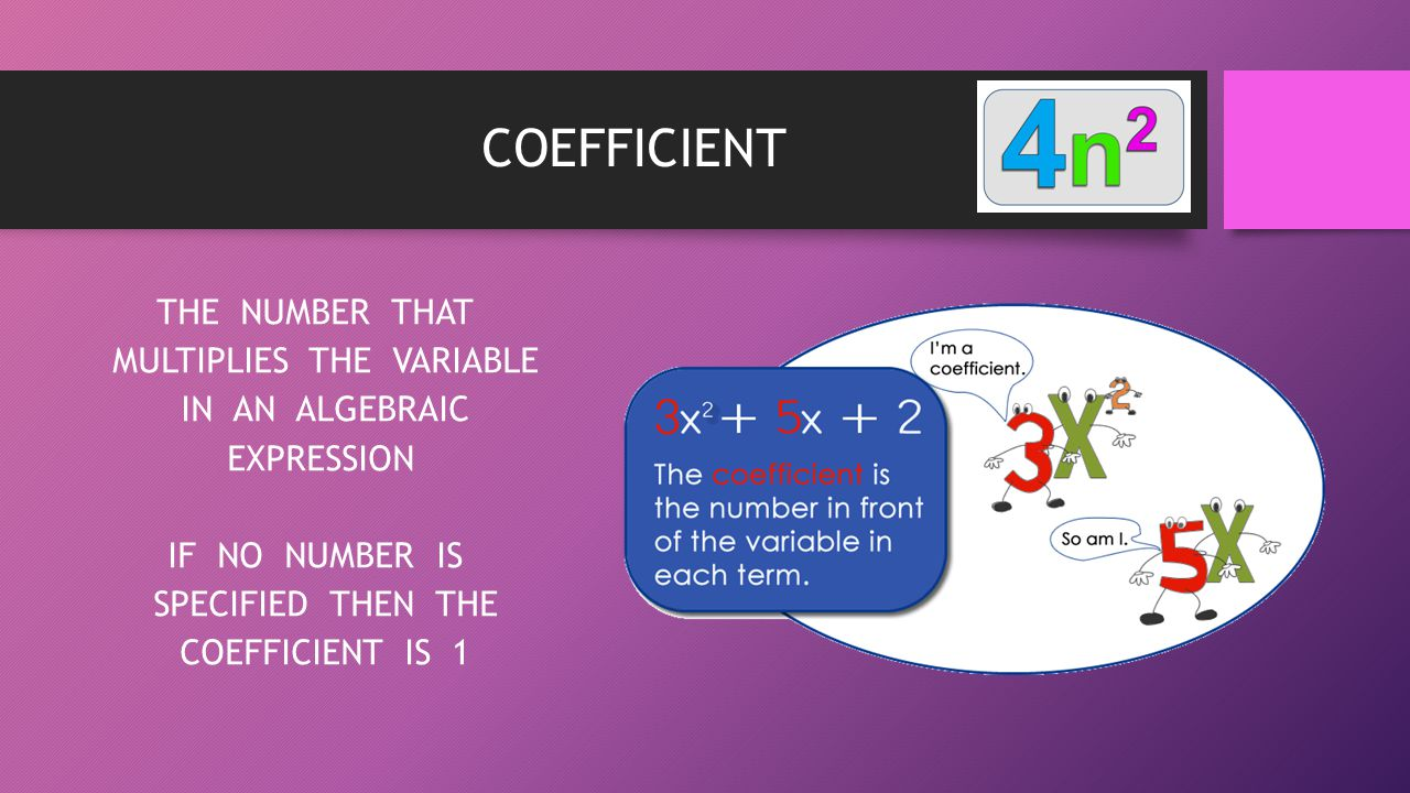 COEFFICIENT THE NUMBER THAT MULTIPLIES THE VARIABLE IN AN ALGEBRAIC EXPRESSION IF NO NUMBER IS SPECIFIED THEN THE COEFFICIENT IS 1