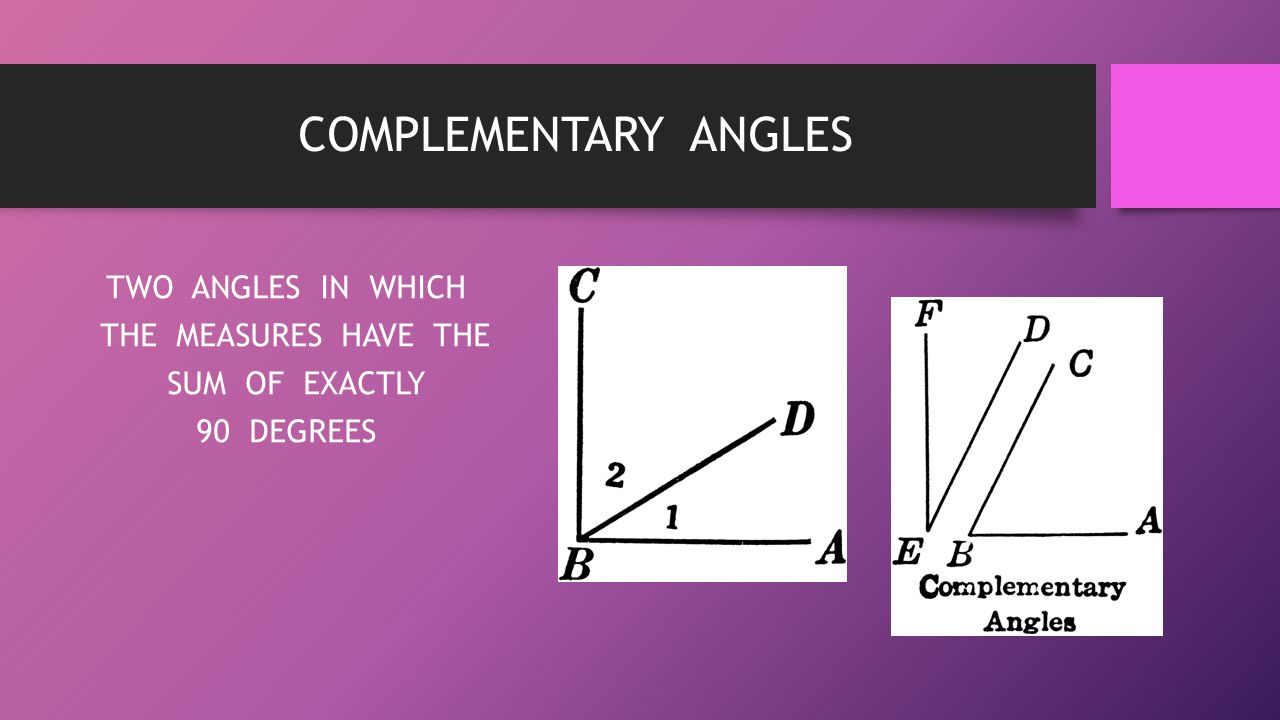 TWO ANGLES IN WHICH THE MEASURES HAVE THE SUM OF EXACTLY 90 DEGREES