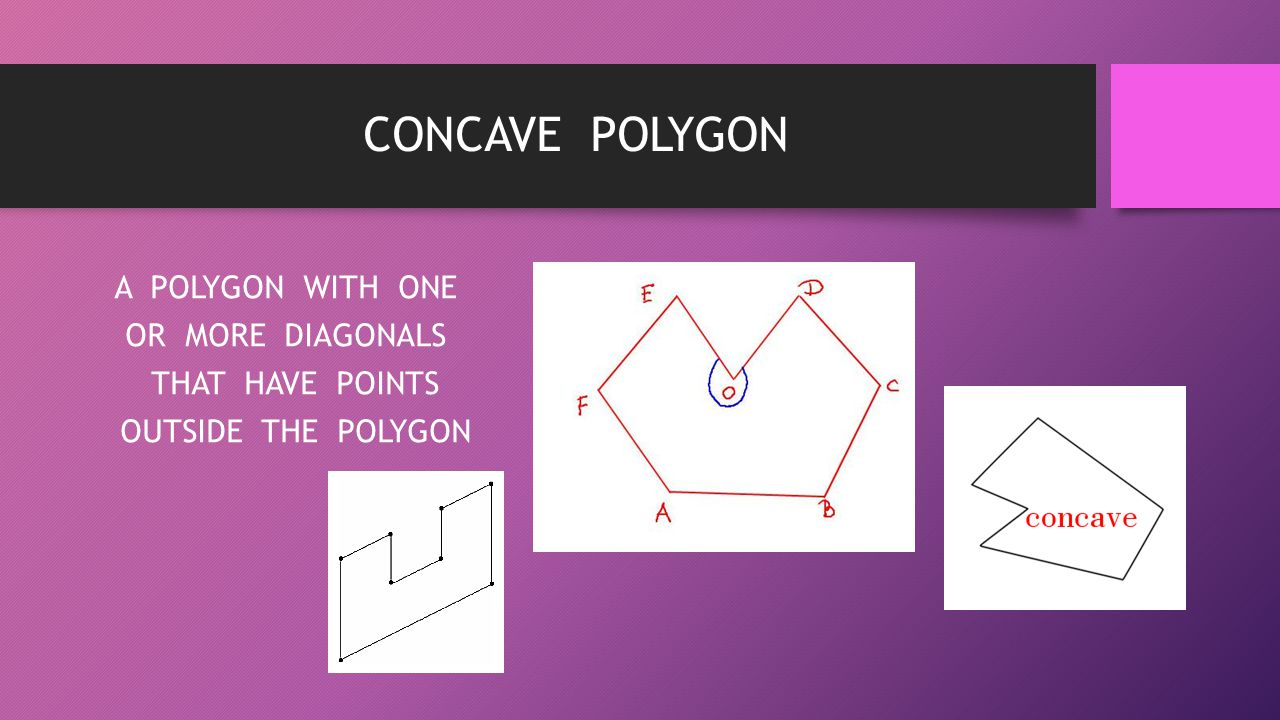 CONCAVE POLYGON A POLYGON WITH ONE OR MORE DIAGONALS THAT HAVE POINTS OUTSIDE THE POLYGON