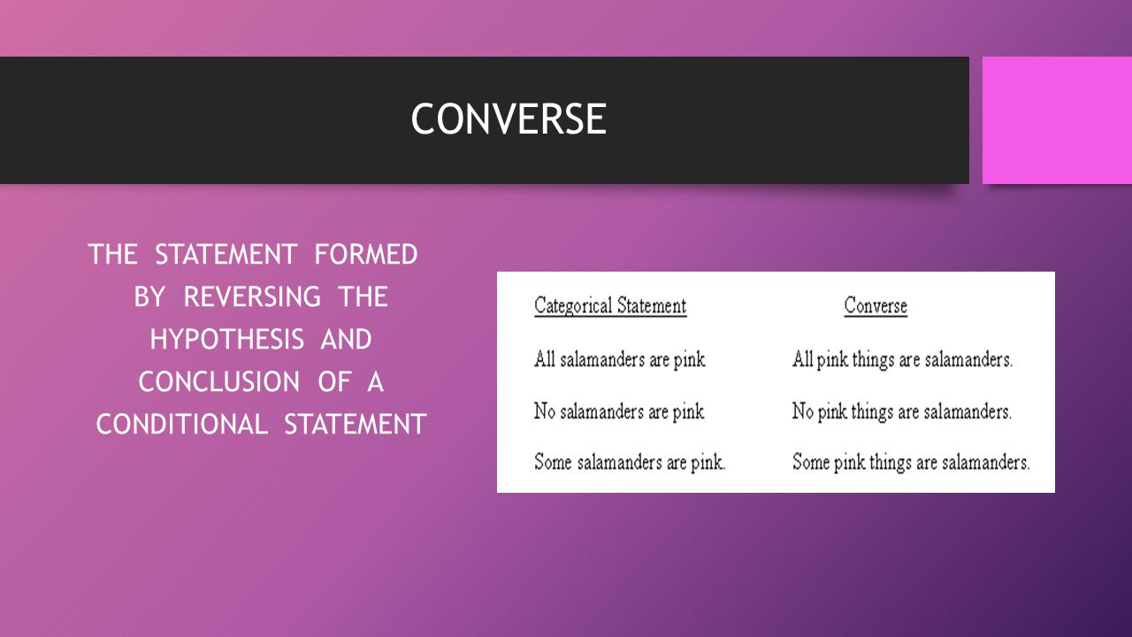CONVERSE THE STATEMENT FORMED BY REVERSING THE HYPOTHESIS AND CONCLUSION OF A CONDITIONAL STATEMENT