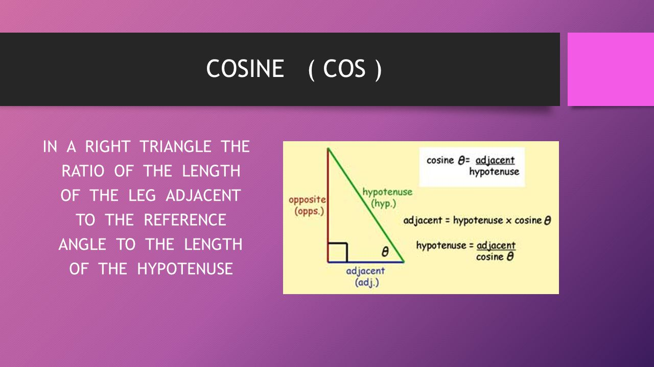 COSINE ( COS ) IN A RIGHT TRIANGLE THE RATIO OF THE LENGTH OF THE LEG ADJACENT TO THE REFERENCE ANGLE TO THE LENGTH OF THE HYPOTENUSE