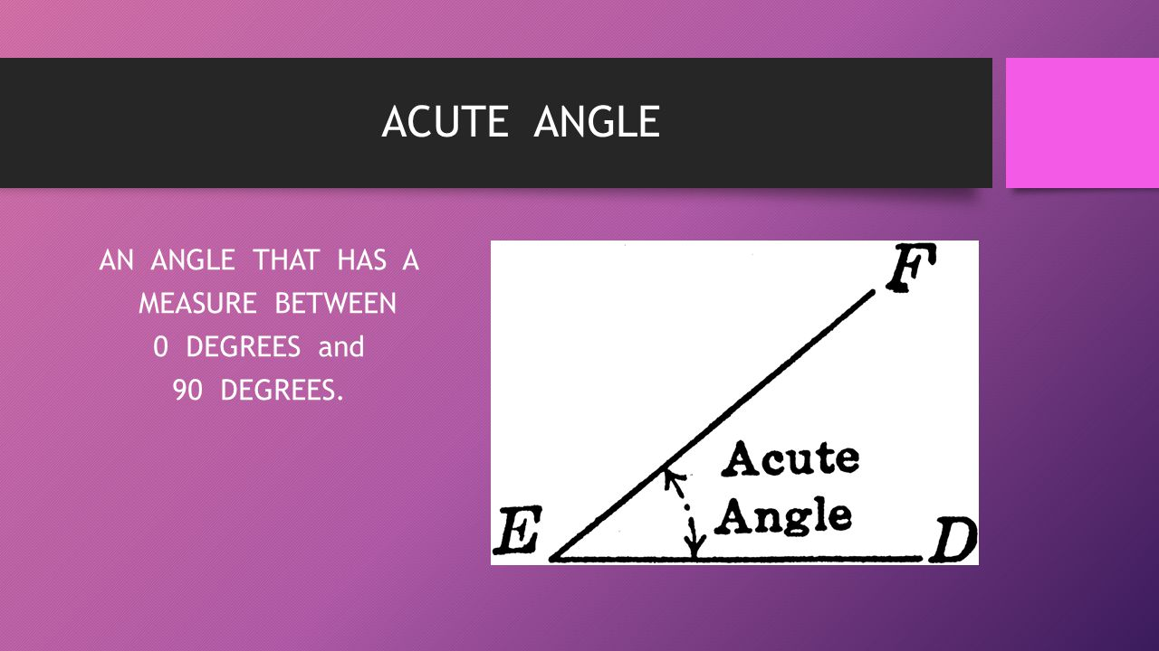 AN ANGLE THAT HAS A MEASURE BETWEEN 0 DEGREES and 90 DEGREES.
