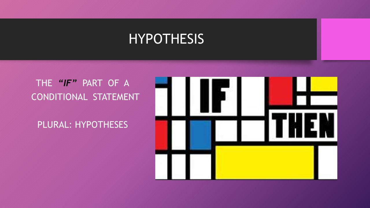 THE IF PART OF A CONDITIONAL STATEMENT PLURAL: HYPOTHESES