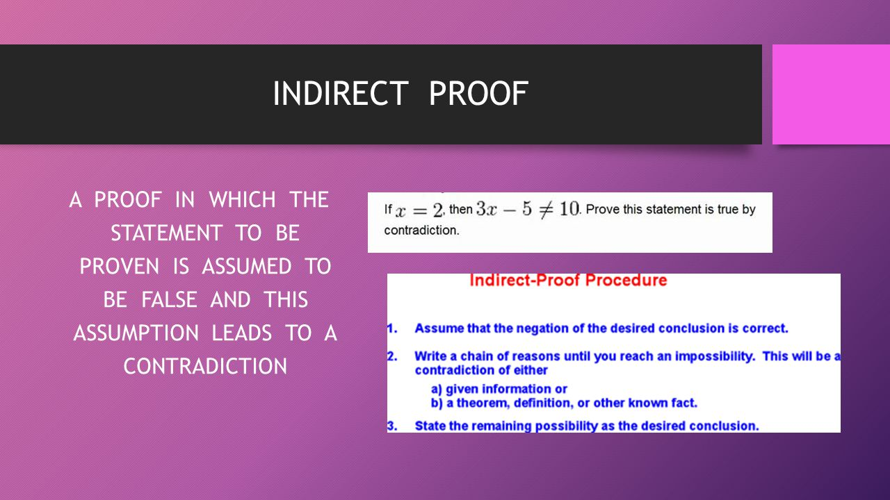 INDIRECT PROOF A PROOF IN WHICH THE STATEMENT TO BE PROVEN IS ASSUMED TO BE FALSE AND THIS ASSUMPTION LEADS TO A CONTRADICTION