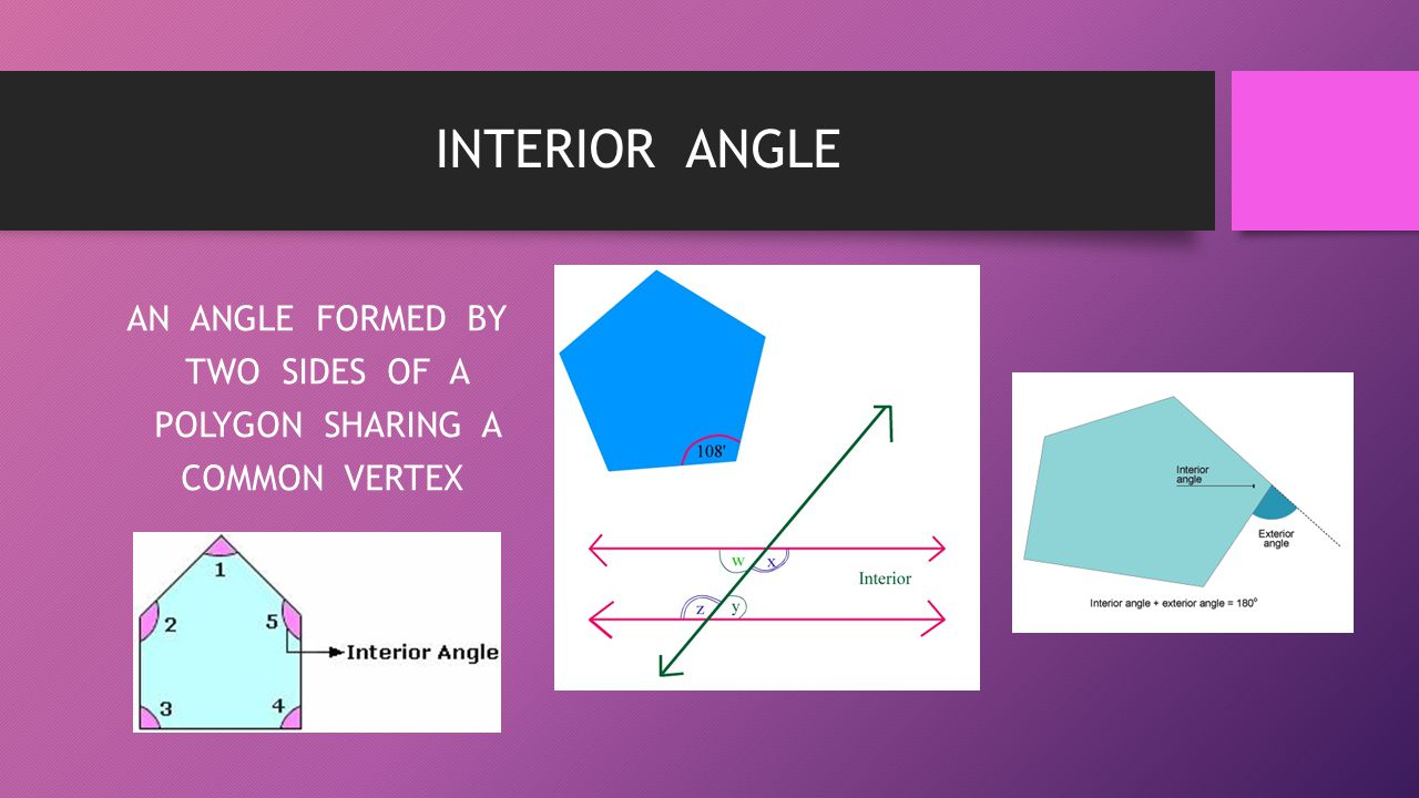 AN ANGLE FORMED BY TWO SIDES OF A POLYGON SHARING A COMMON VERTEX