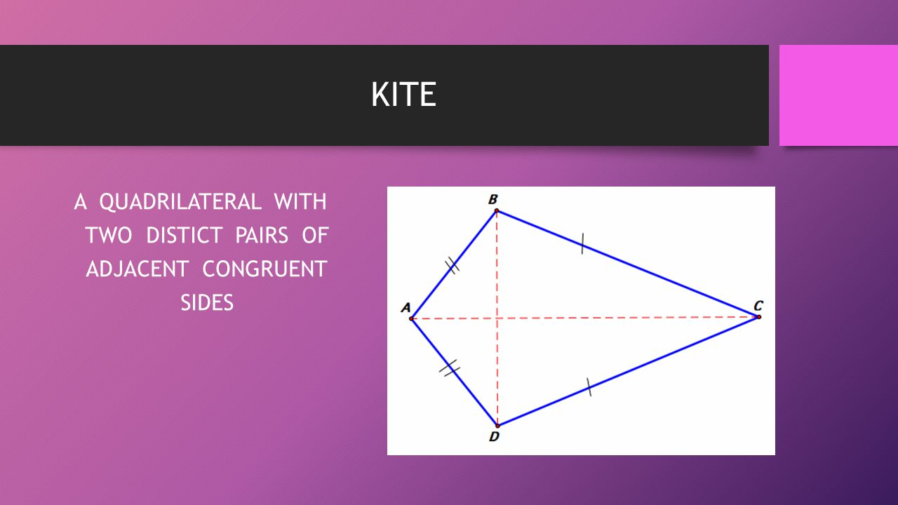 A QUADRILATERAL WITH TWO DISTICT PAIRS OF ADJACENT CONGRUENT SIDES