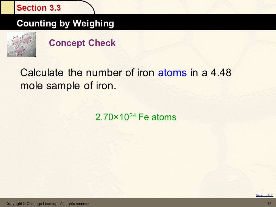 Calculate the number of iron atoms in a 4.48 mole sample of iron.