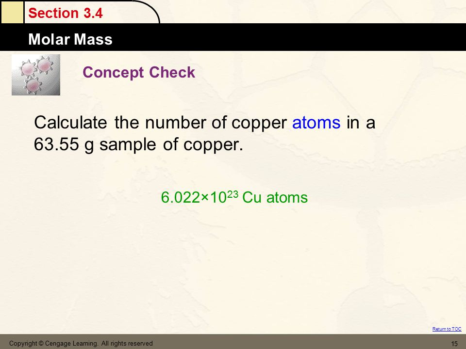 Calculate the number of copper atoms in a 63.55 g sample of copper.