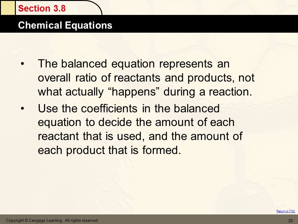 The balanced equation represents an overall ratio of reactants and products, not what actually happens during a reaction.