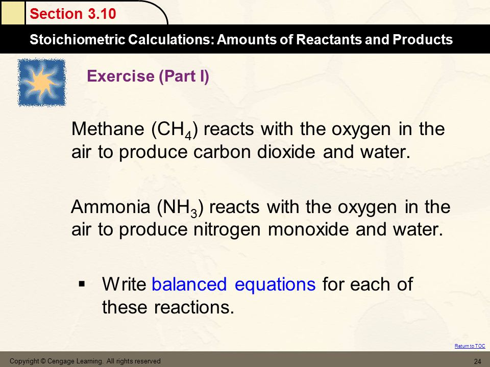 Write balanced equations for each of these reactions.