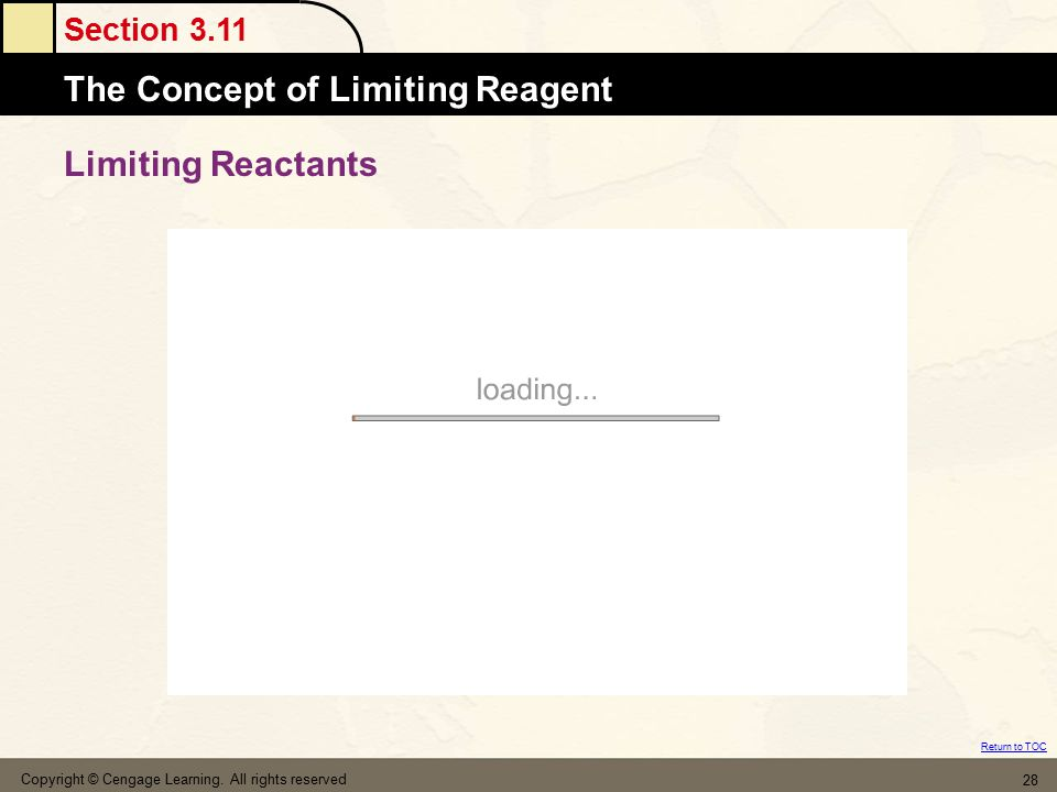 Limiting Reactants Copyright © Cengage Learning. All rights reserved