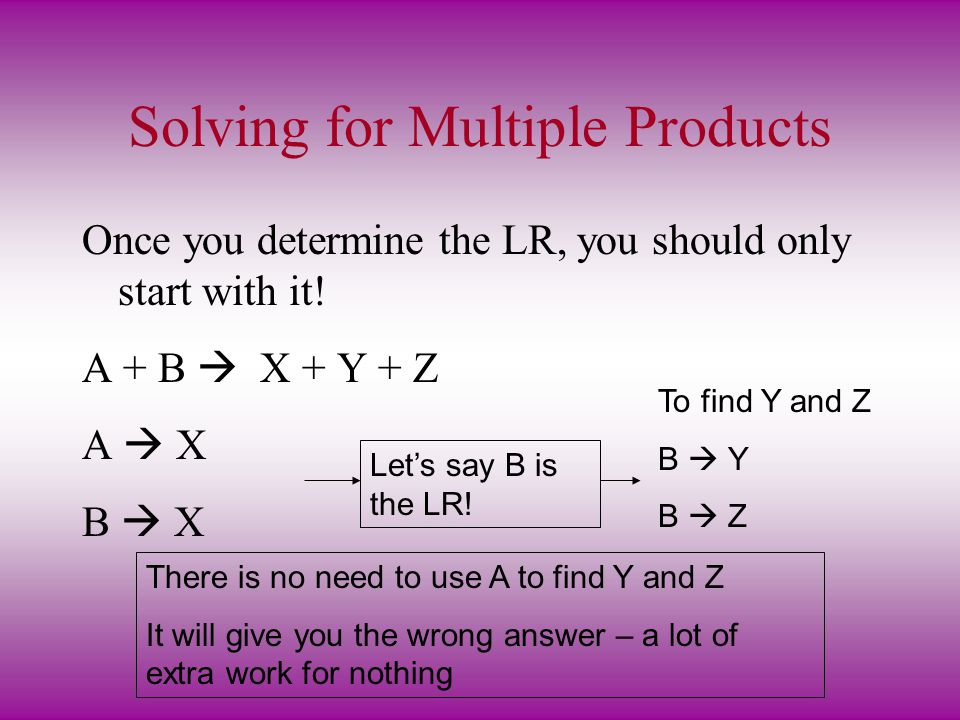 Solving for Multiple Products
