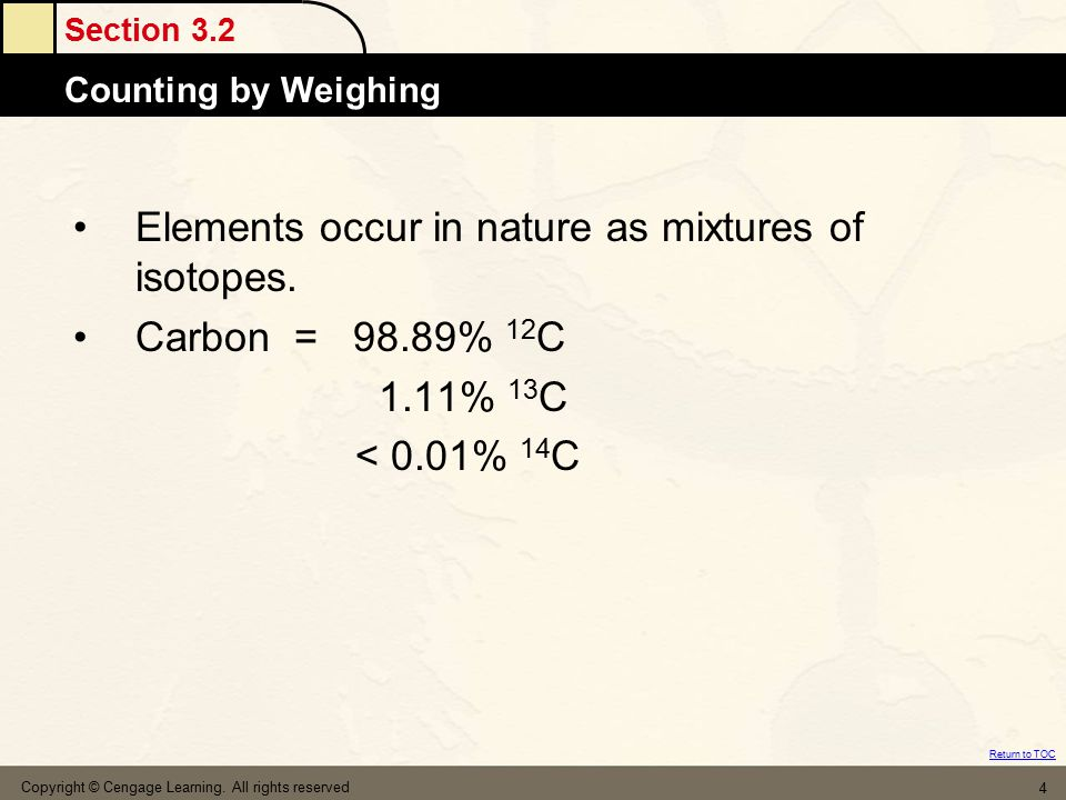 Elements occur in nature as mixtures of isotopes. Carbon = 98.89% 12C