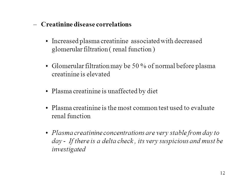 Creatinine disease correlations