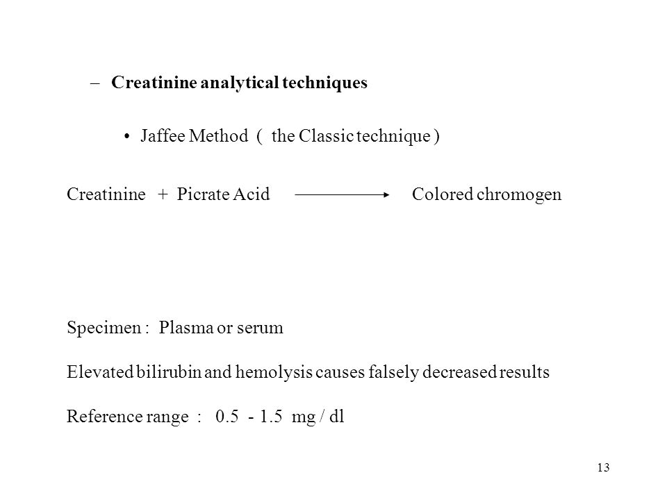 Creatinine analytical techniques