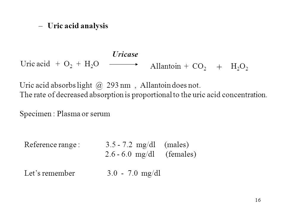 + Uric acid analysis Uricase Uric acid + O2 + H2O Allantoin + CO2 H2O2
