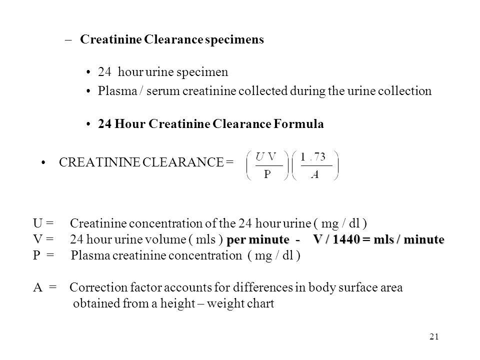 Creatinine Clearance specimens