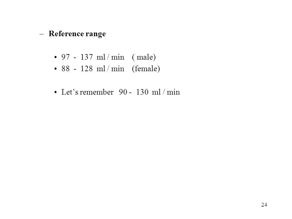 Reference range 97 - 137 ml / min ( male) 88 - 128 ml / min (female) Let's remember 90 - 130 ml / min.