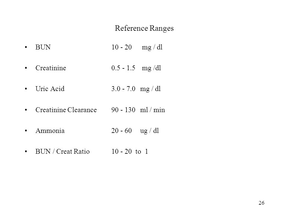Reference Ranges BUN 10 - 20 mg / dl Creatinine 0.5 - 1.5 mg /dl
