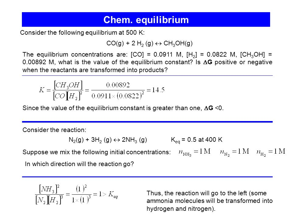 Chem. equilibrium Consider the following equilibrium at 500 K: