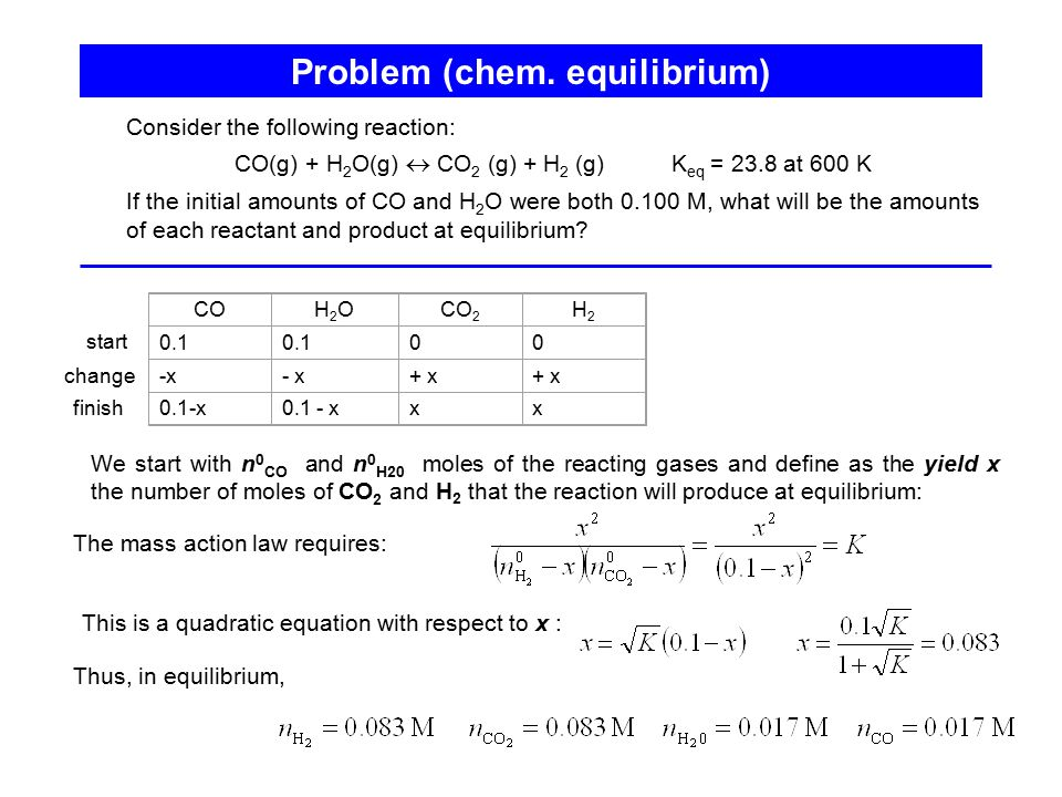 Problem (chem. equilibrium)