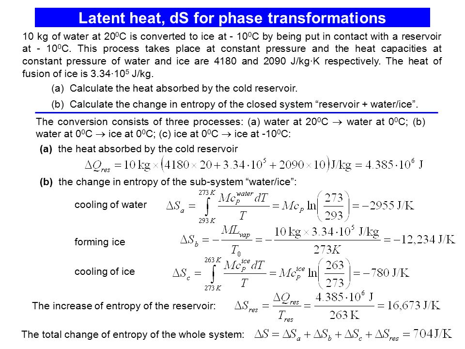Latent heat, dS for phase transformations