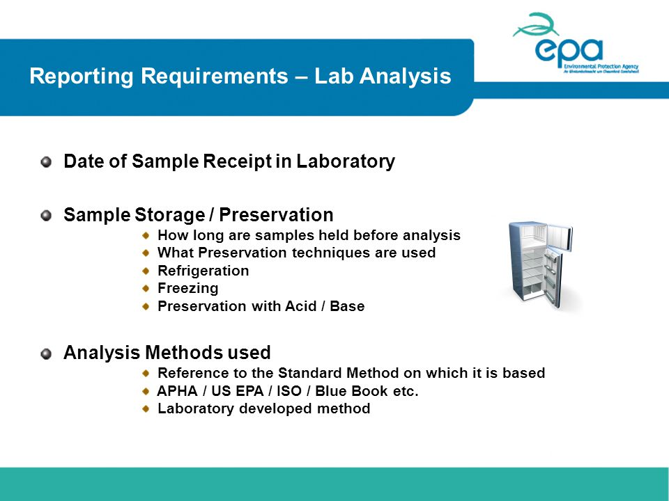 Reporting Requirements – Lab Analysis