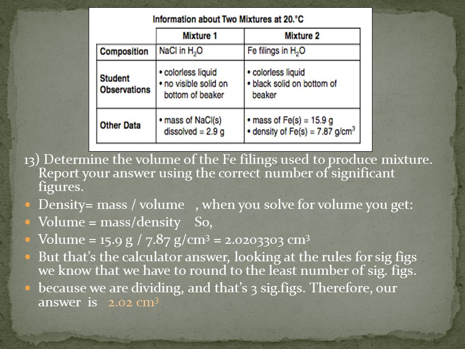 13) Determine the volume of the Fe filings used to produce mixture