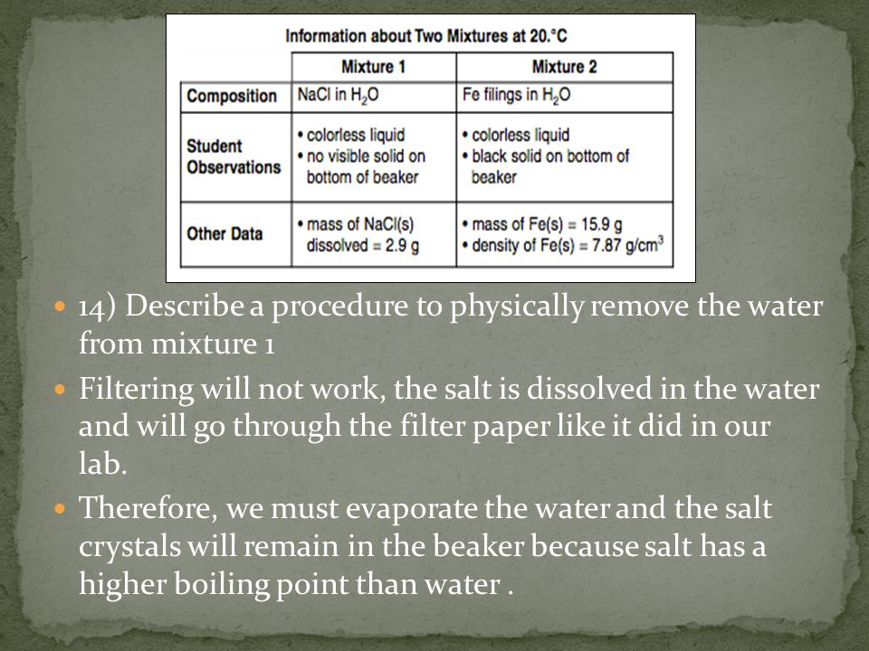 14) Describe a procedure to physically remove the water from mixture 1