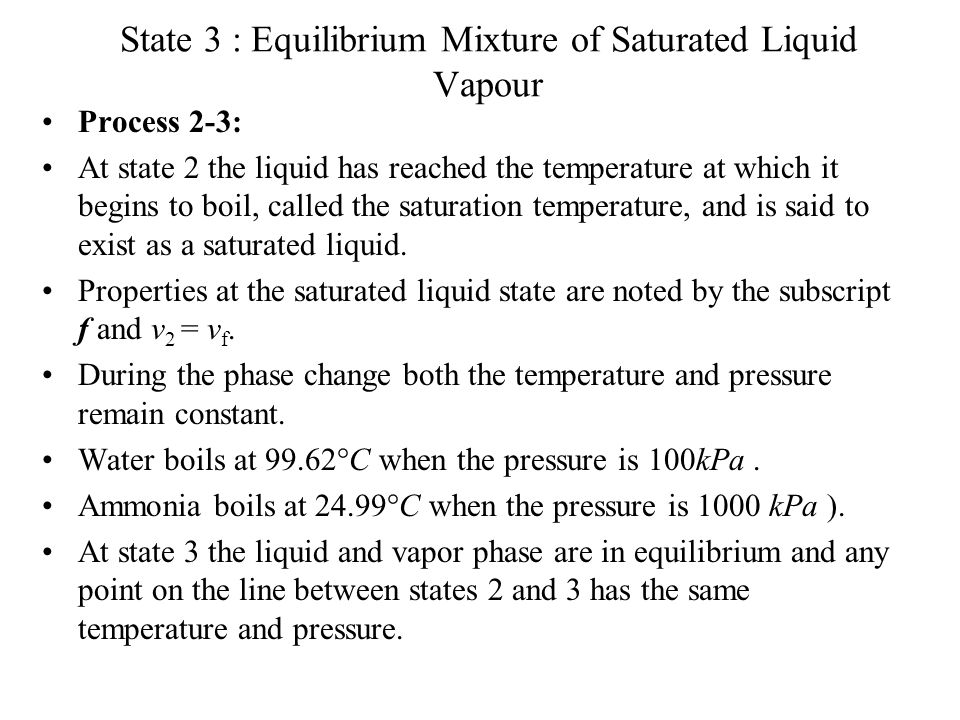 State 3 : Equilibrium Mixture of Saturated Liquid Vapour