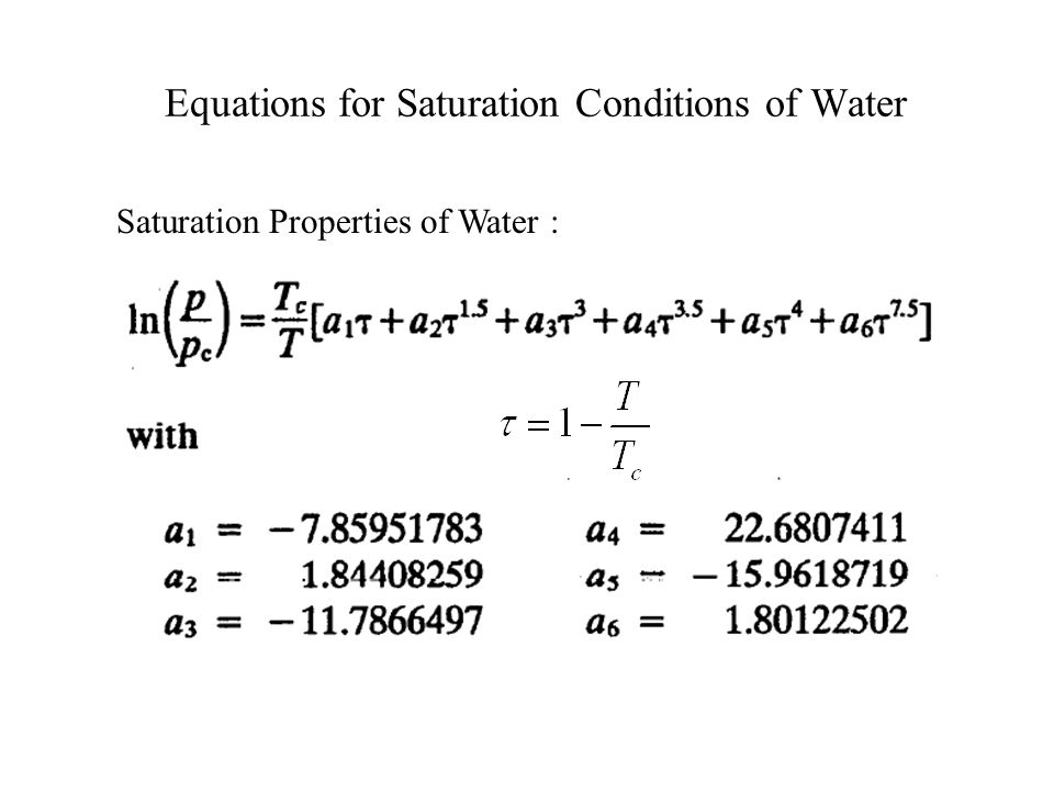 Equations for Saturation Conditions of Water