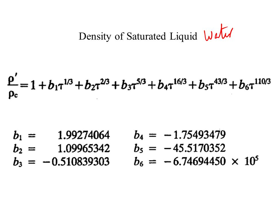Density of Saturated Liquid
